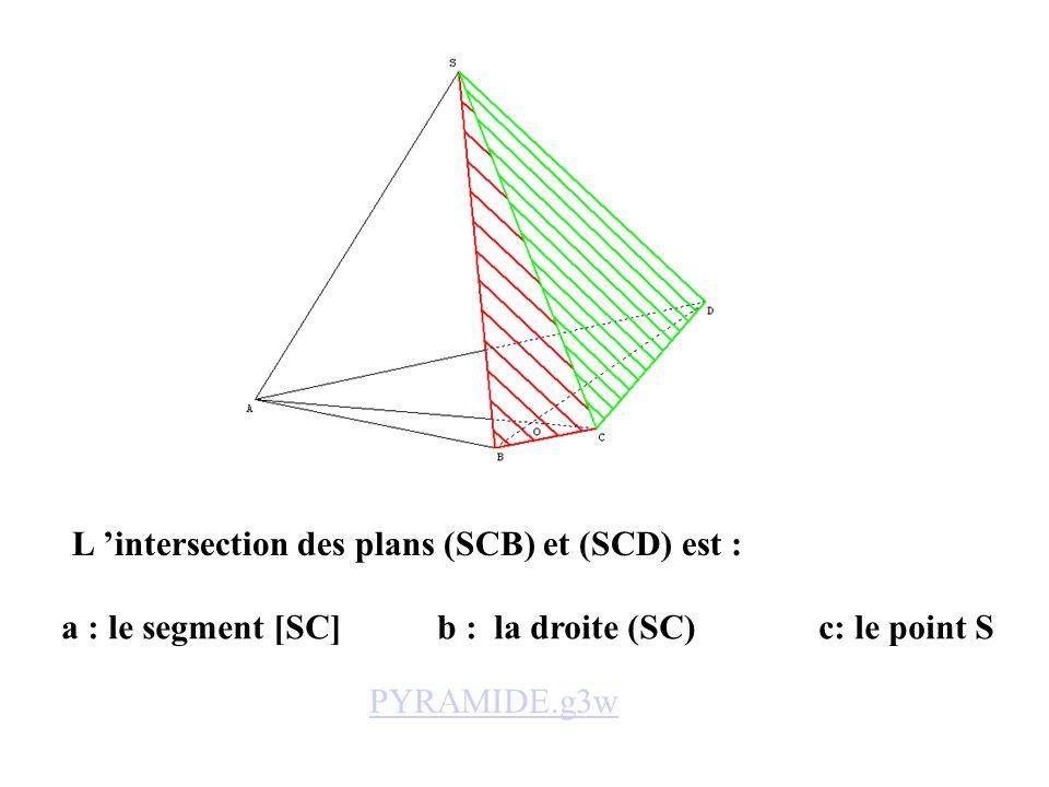 L 'intersection des plans (SCB) et (SCD) est :