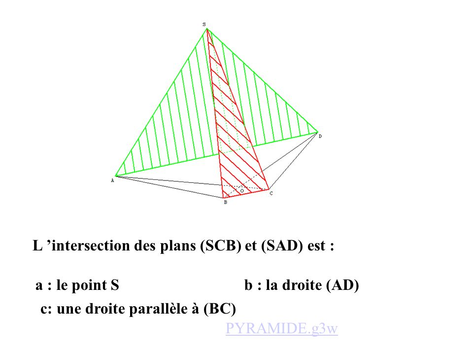 L 'intersection des plans (SCB) et (SAD) est :