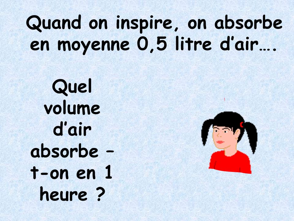 Quand on inspire, on absorbe en moyenne 0,5 litre d'air….