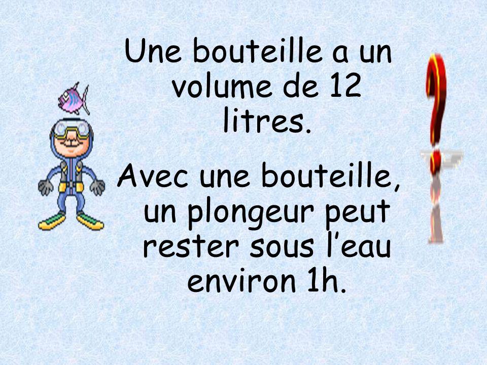 Une bouteille a un volume de 12 litres.