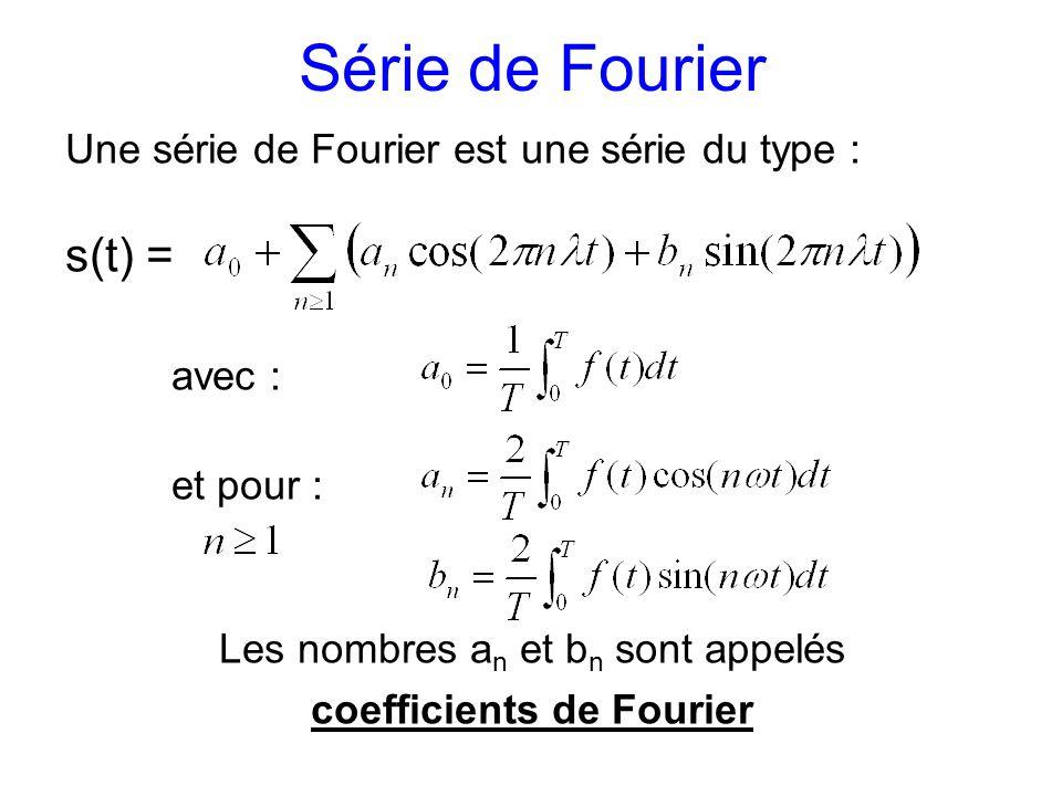 Série de Fourier s(t) = Une série de Fourier est une série du type :