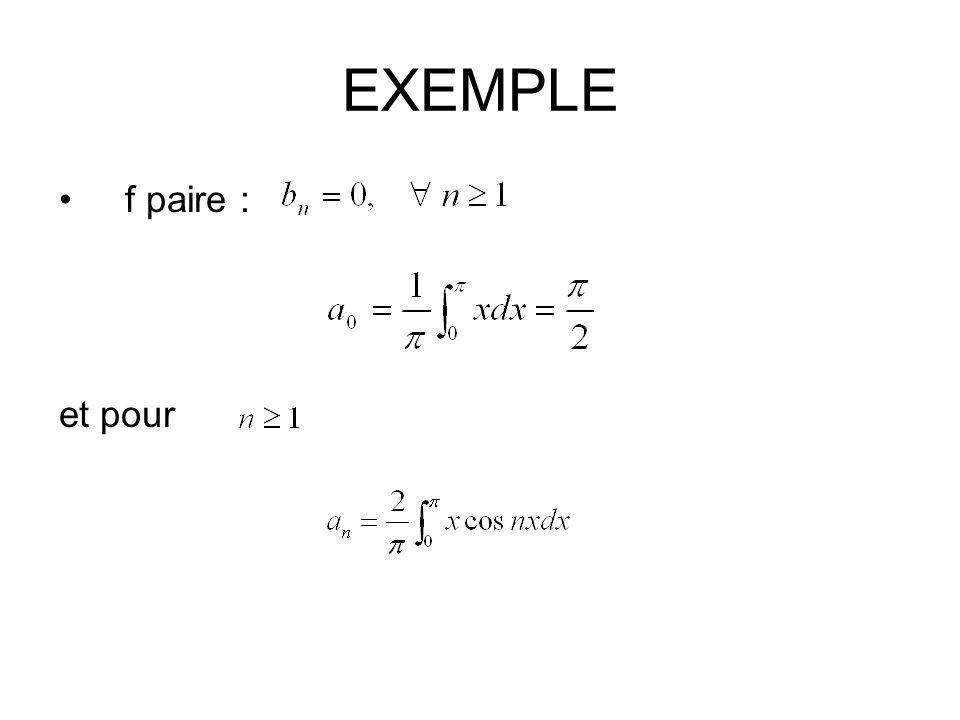 EXEMPLE f paire : et pour