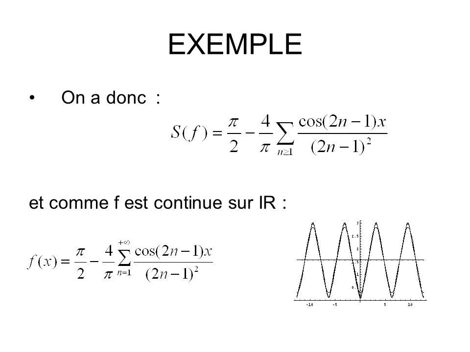 EXEMPLE On a donc : et comme f est continue sur IR :