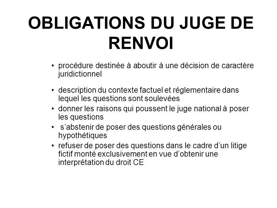 OBLIGATIONS DU JUGE DE RENVOI
