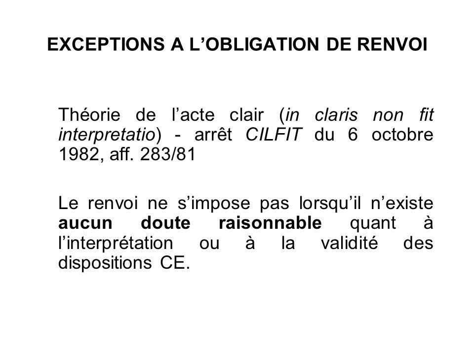 EXCEPTIONS A L'OBLIGATION DE RENVOI