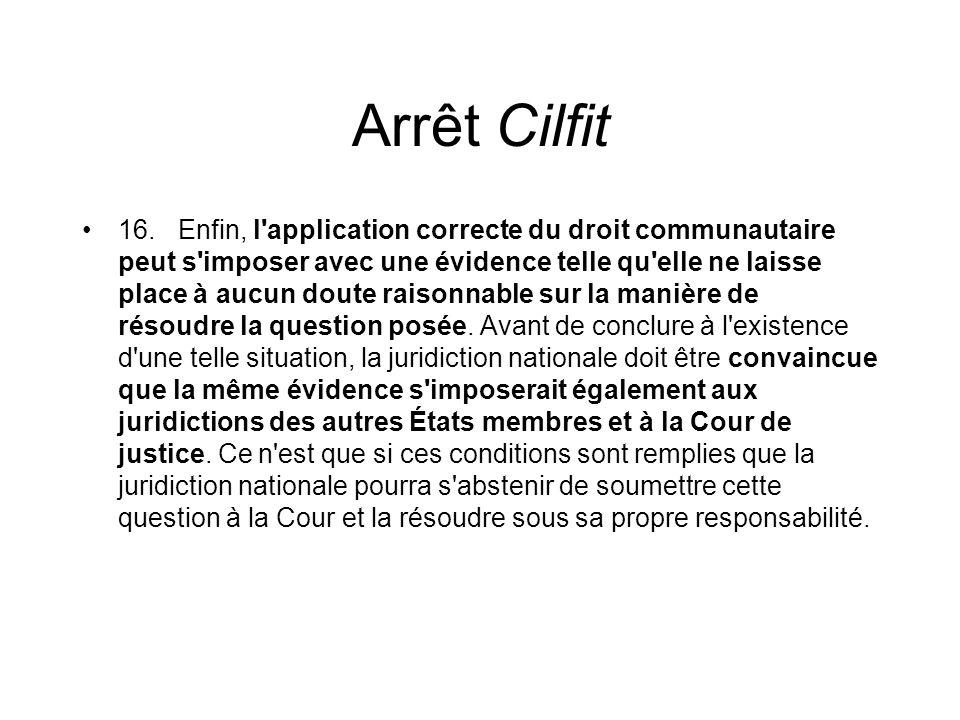 Arrêt Cilfit