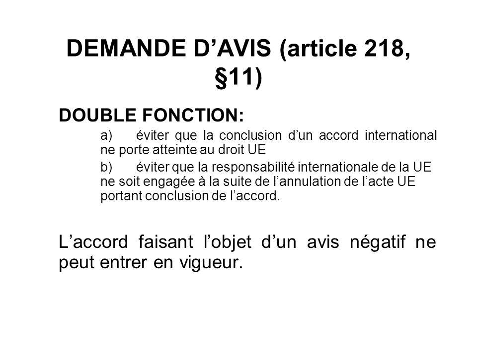 DEMANDE D'AVIS (article 218, §11)