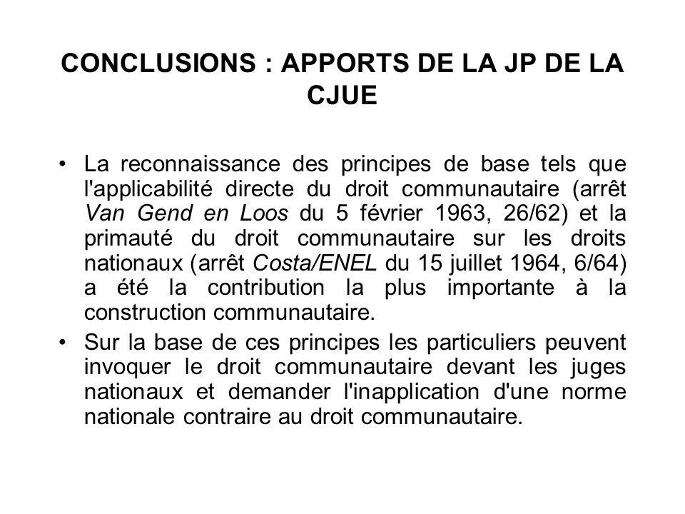 CONCLUSIONS : APPORTS DE LA JP DE LA CJUE