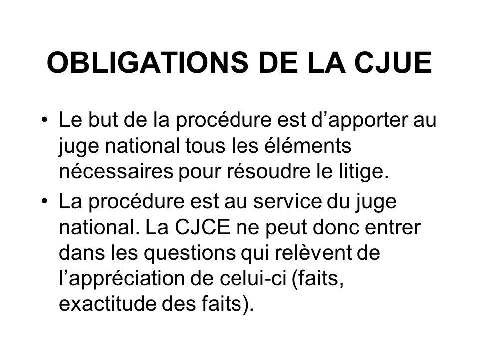 OBLIGATIONS DE LA CJUE Le but de la procédure est d'apporter au juge national tous les éléments nécessaires pour résoudre le litige.