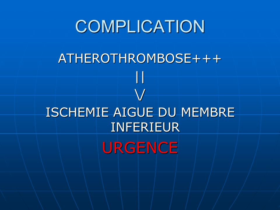 ISCHEMIE AIGUE DU MEMBRE INFERIEUR
