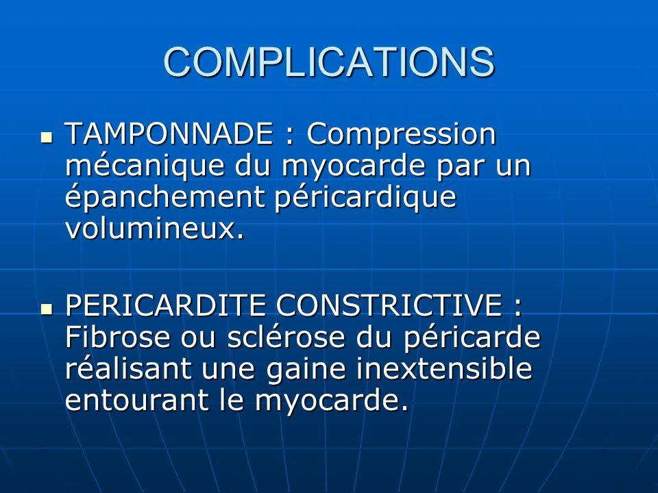 COMPLICATIONSTAMPONNADE : Compression mécanique du myocarde par un épanchement péricardique volumineux.