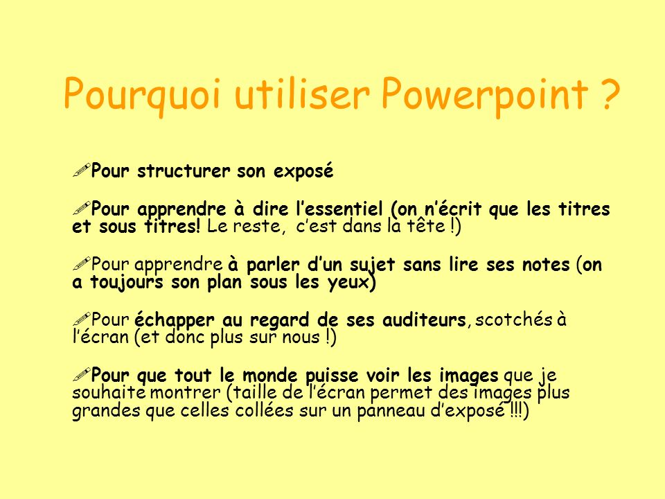Pourquoi utiliser Powerpoint