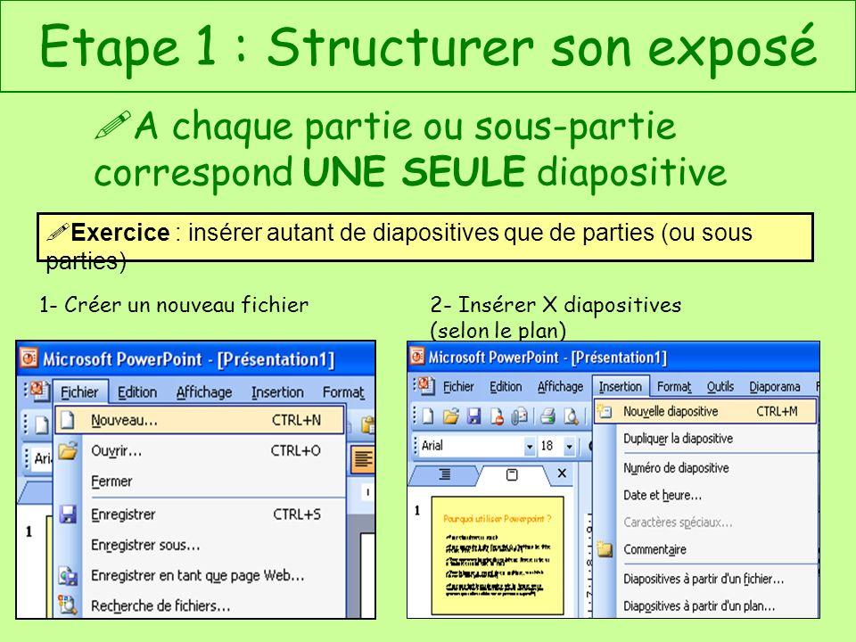 Etape 1 : Structurer son exposé