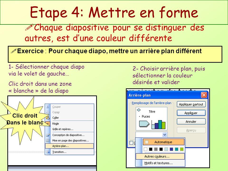 Etape 4: Mettre en forme Chaque diapositive pour se distinguer des autres, est d'une couleur différente.