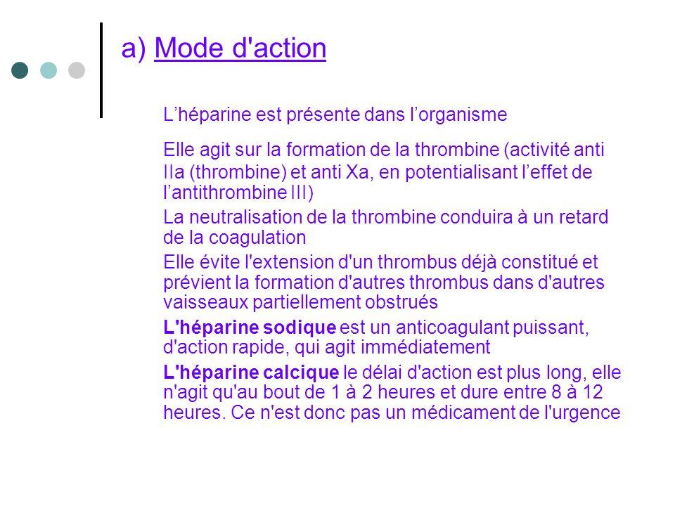 a) Mode d action L'héparine est présente dans l'organisme
