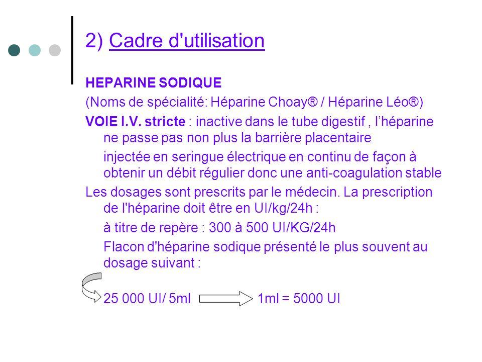 2) Cadre d utilisation HEPARINE SODIQUE