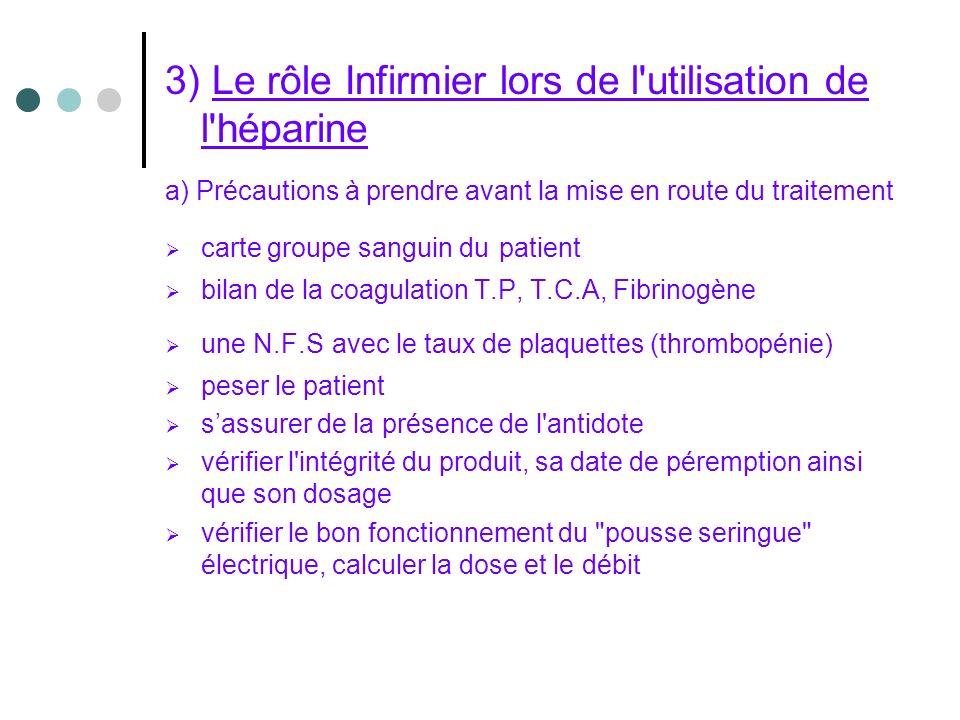 3) Le rôle Infirmier lors de l utilisation de l héparine
