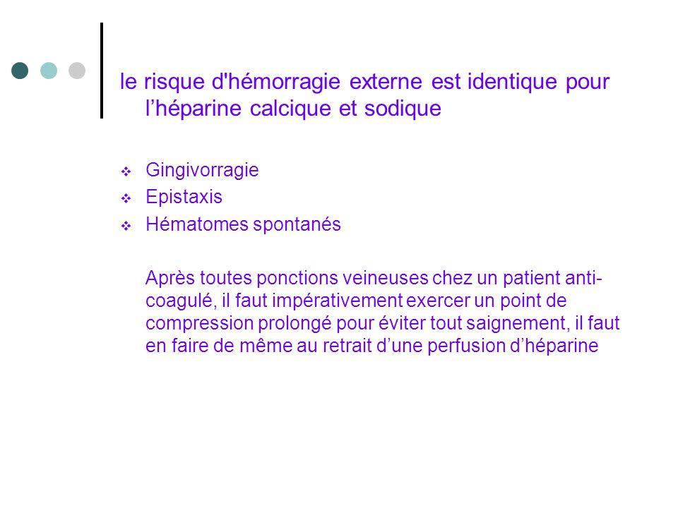 le risque d hémorragie externe est identique pour l'héparine calcique et sodique