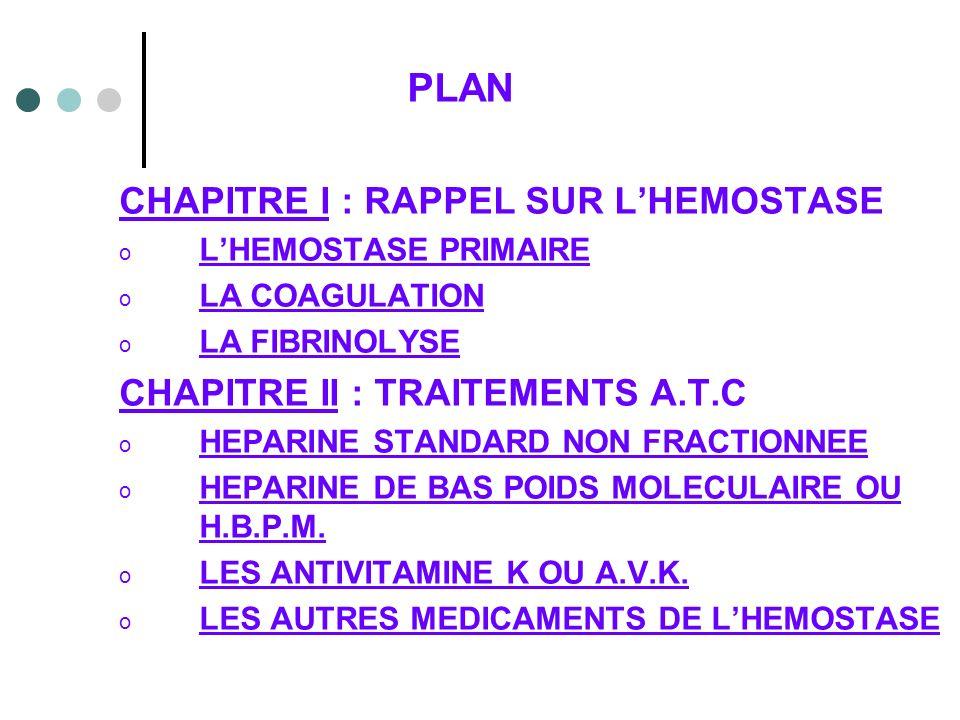 PLAN CHAPITRE I : RAPPEL SUR L'HEMOSTASE