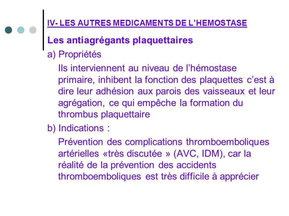 Les antiagrégants plaquettaires a) Propriétés