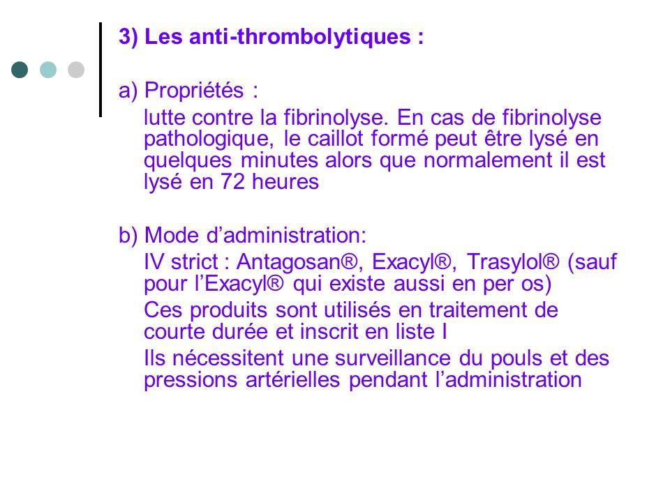 3) Les anti-thrombolytiques :