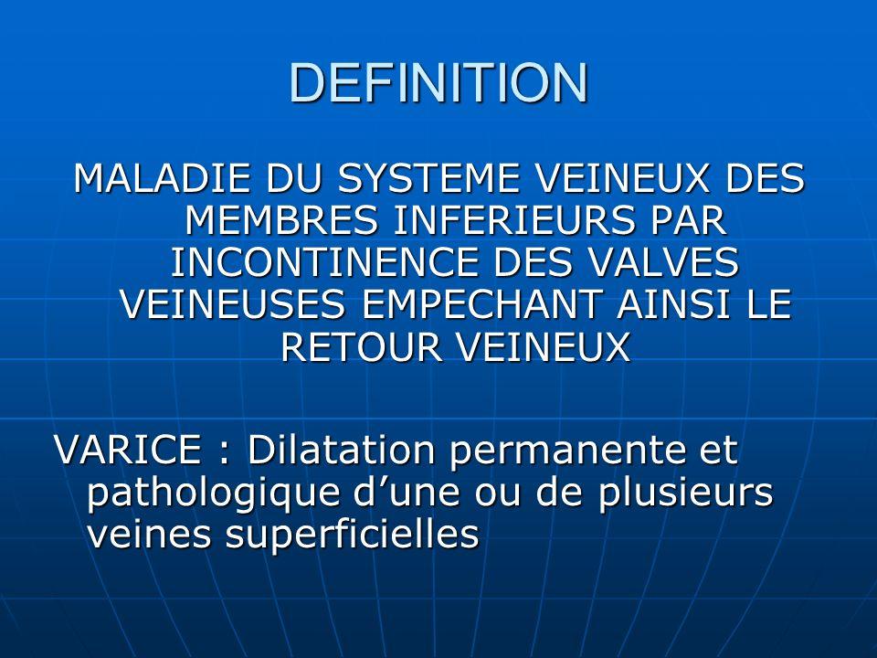 DEFINITION MALADIE DU SYSTEME VEINEUX DES MEMBRES INFERIEURS PAR INCONTINENCE DES VALVES VEINEUSES EMPECHANT AINSI LE RETOUR VEINEUX.