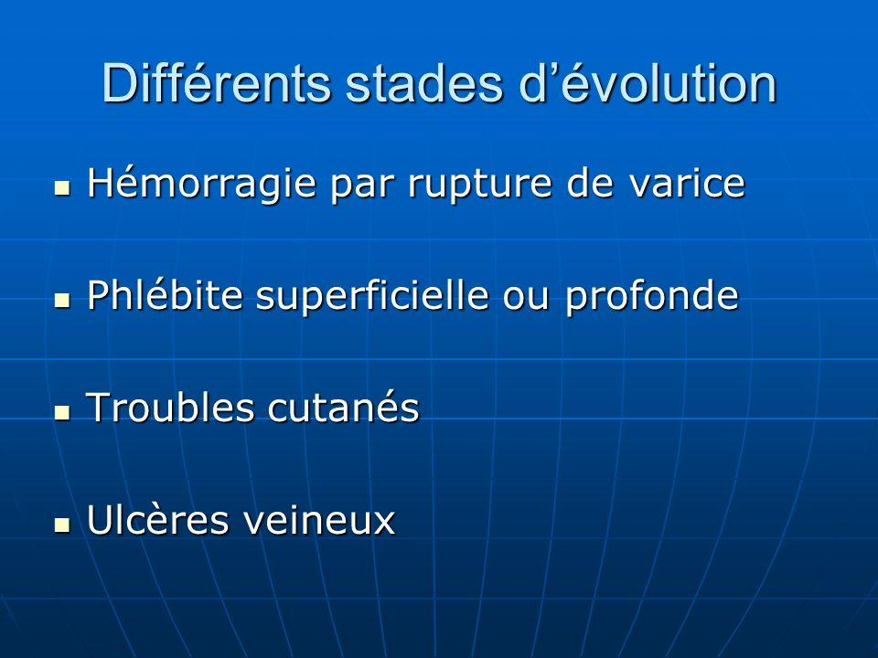 Différents stades d'évolution