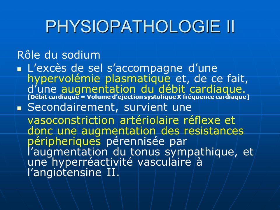 PHYSIOPATHOLOGIE II Rôle du sodium