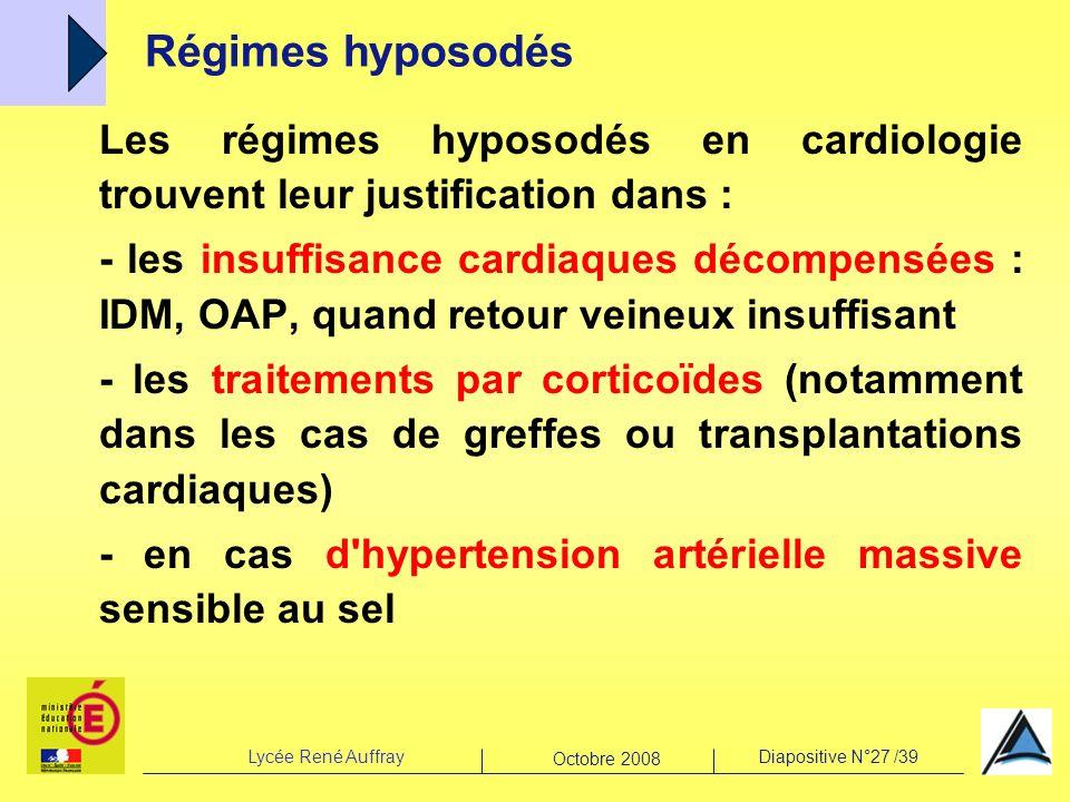 Régimes hyposodés Les régimes hyposodés en cardiologie trouvent leur justification dans :