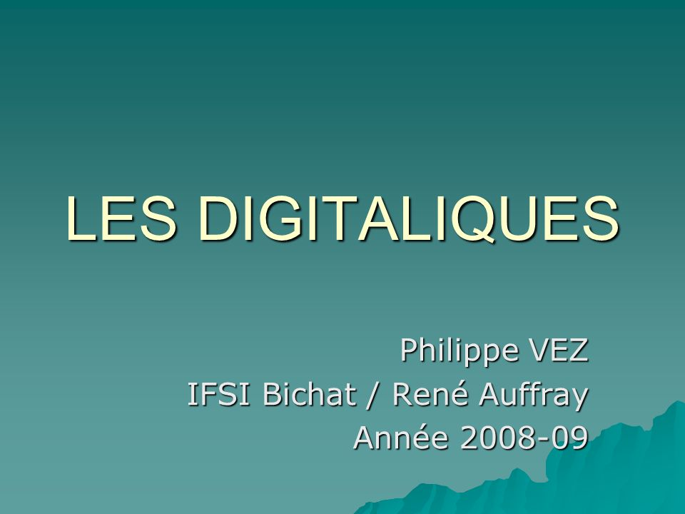 Philippe VEZ IFSI Bichat / René Auffray Année 2008-09