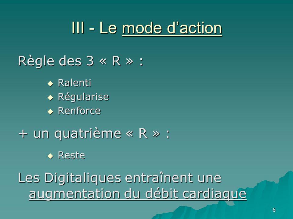 III - Le mode d'action Règle des 3 « R » : + un quatrième « R » :