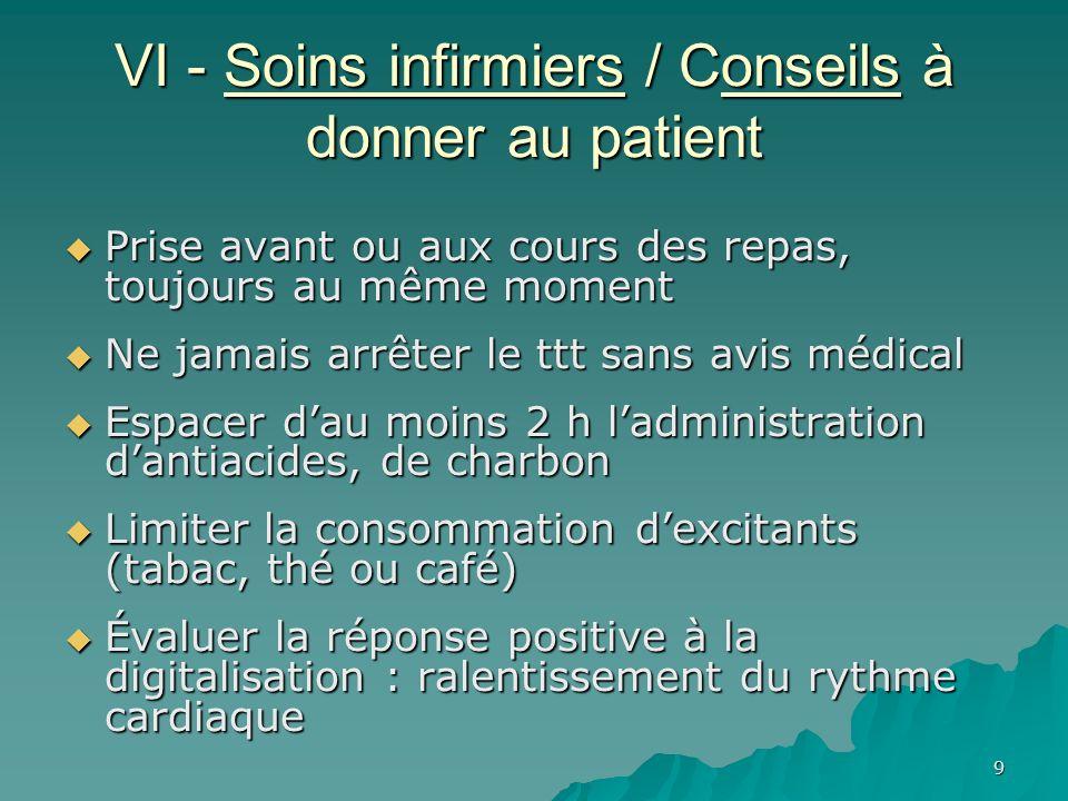 VI - Soins infirmiers / Conseils à donner au patient