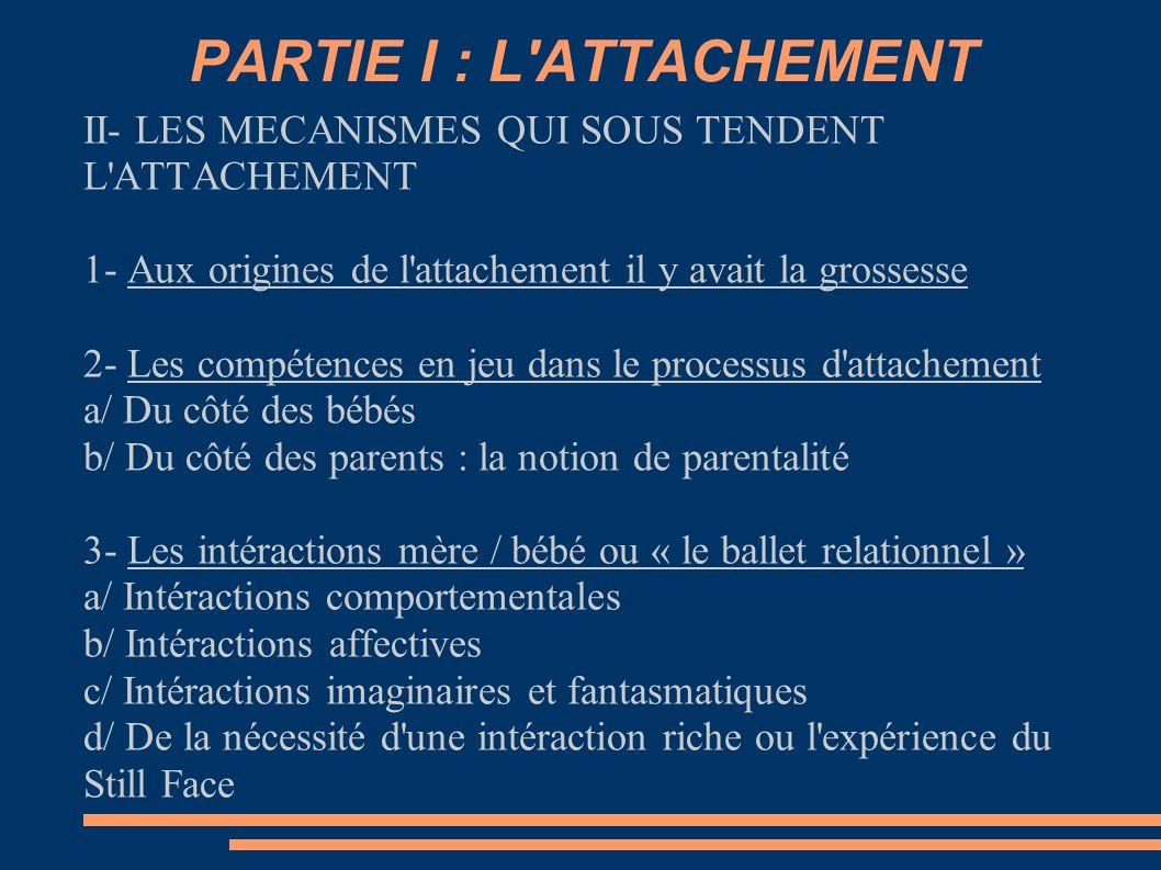 PARTIE I : L ATTACHEMENT