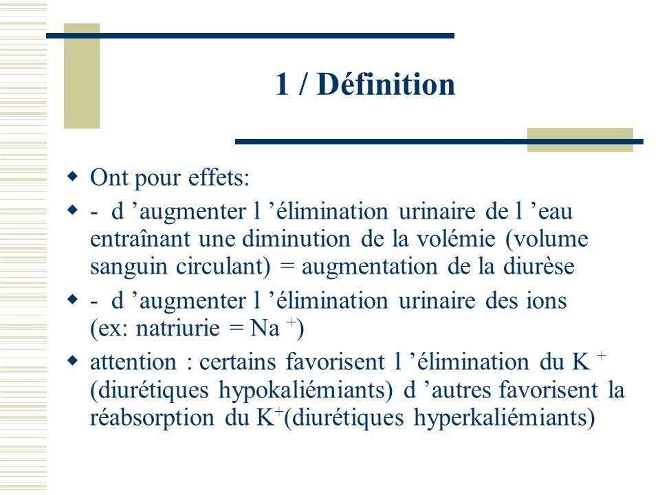 1 / Définition Ont pour effets: