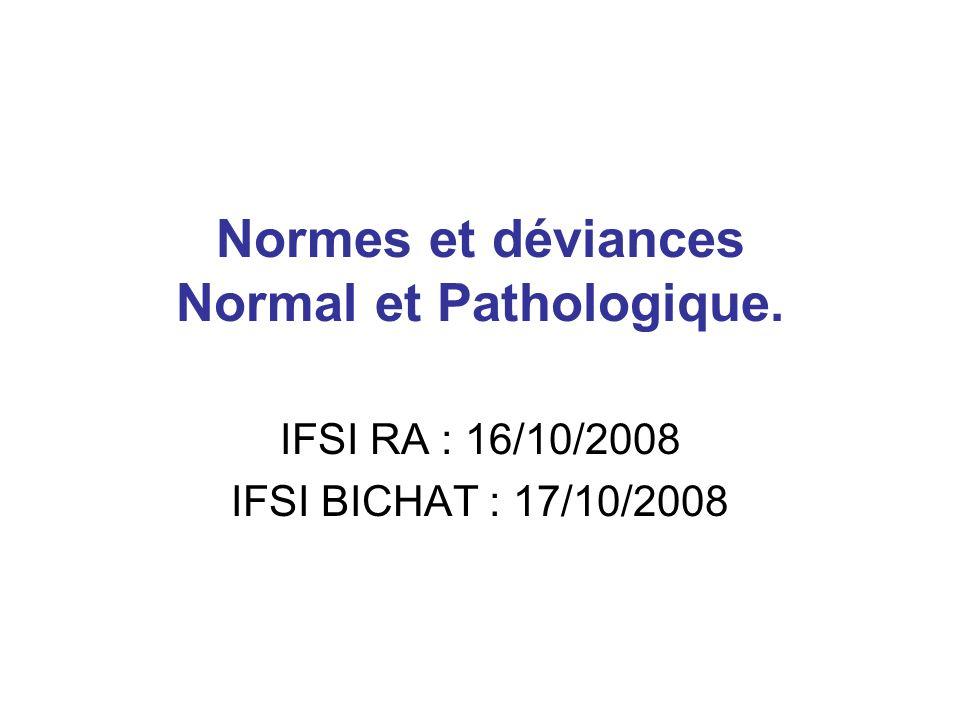 Normes et déviances Normal et Pathologique.