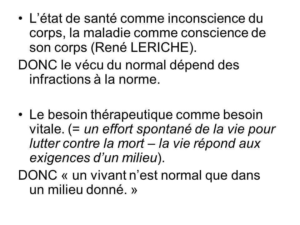 L'état de santé comme inconscience du corps, la maladie comme conscience de son corps (René LERICHE).
