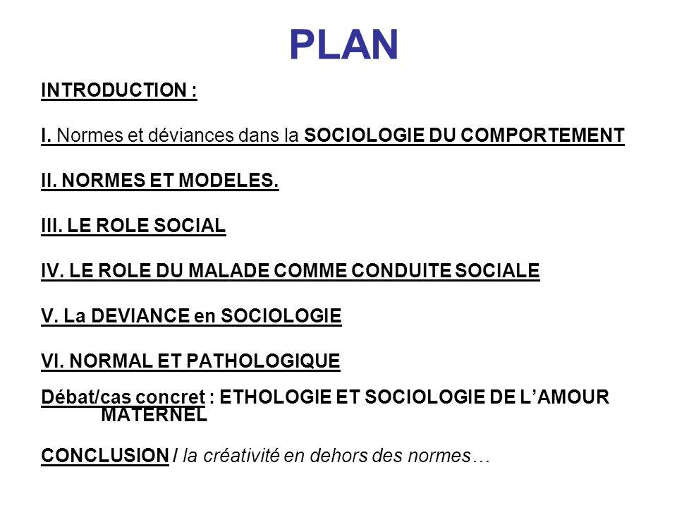 PLAN INTRODUCTION : I. Normes et déviances dans la SOCIOLOGIE DU COMPORTEMENT. II. NORMES ET MODELES.