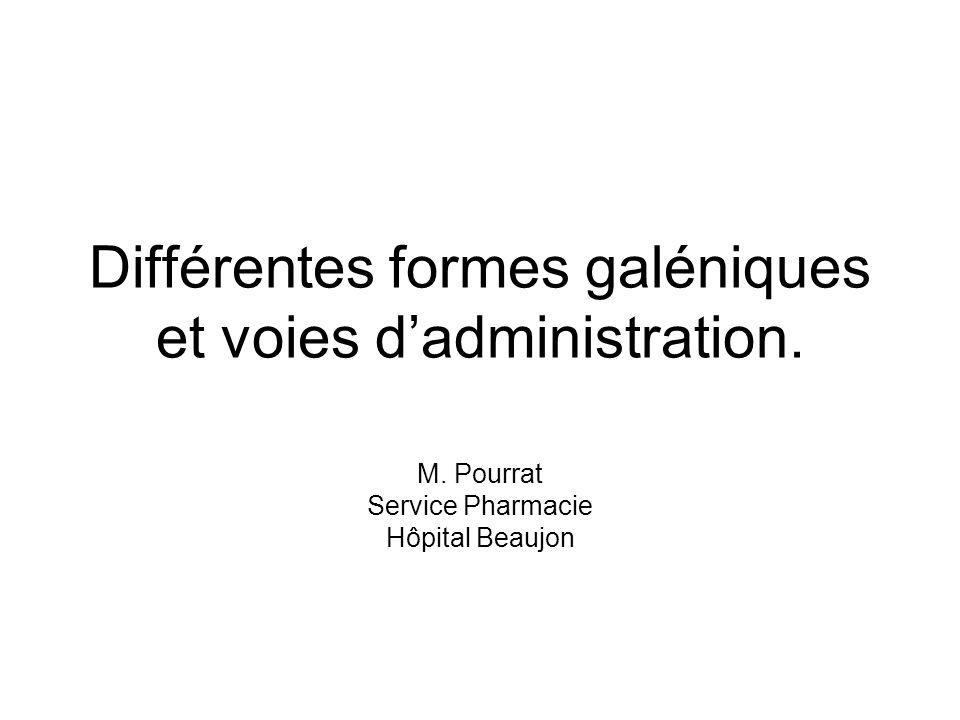 Différentes formes galéniques et voies d'administration.