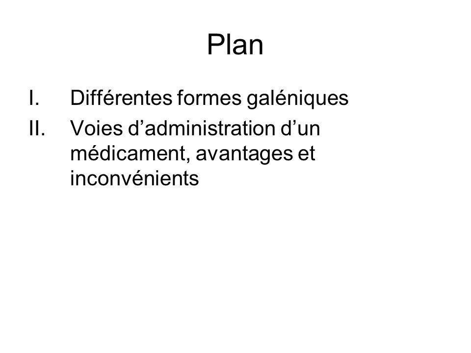 Plan Différentes formes galéniques