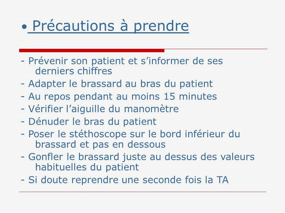 Précautions à prendre - Prévenir son patient et s'informer de ses derniers chiffres. - Adapter le brassard au bras du patient.
