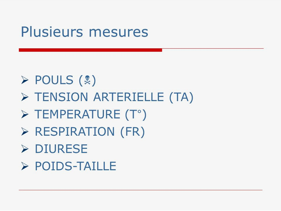 Plusieurs mesures POULS () TENSION ARTERIELLE (TA)