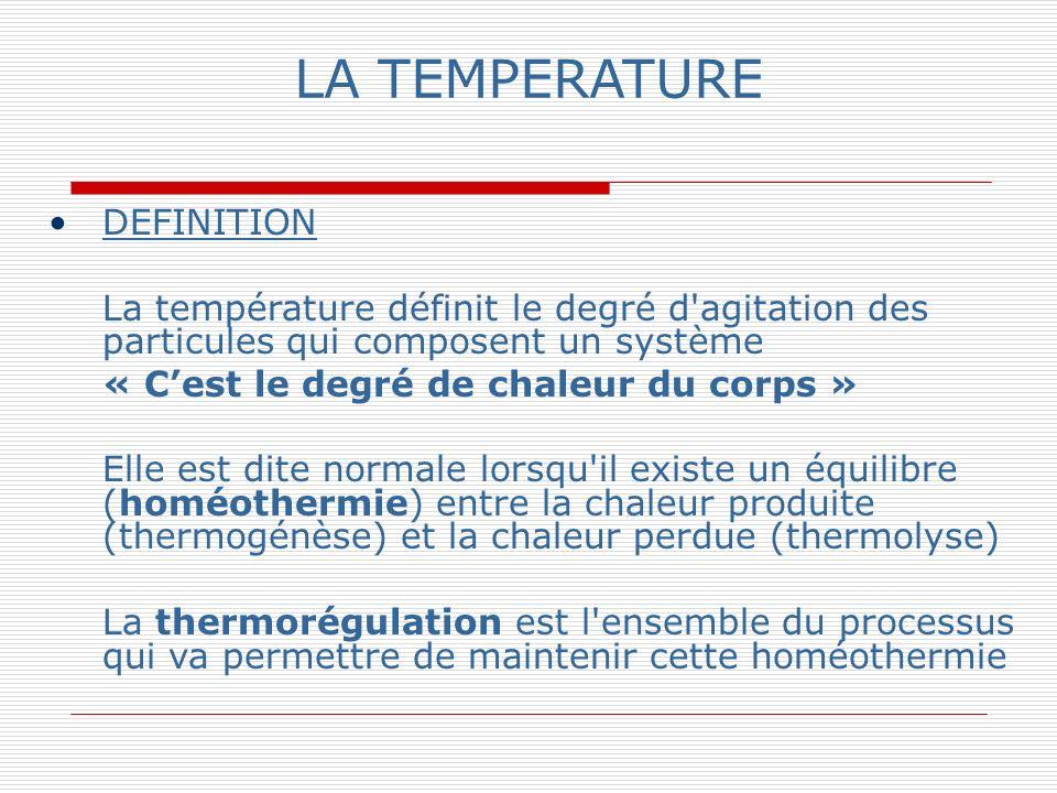 LA TEMPERATURE DEFINITION « C'est le degré de chaleur du corps »