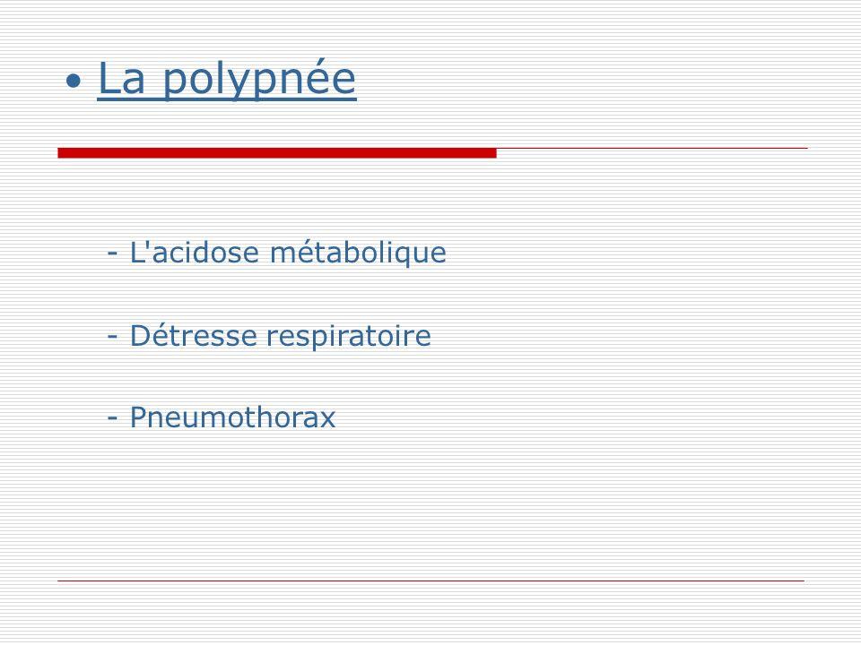 La polypnée - L acidose métabolique - Détresse respiratoire