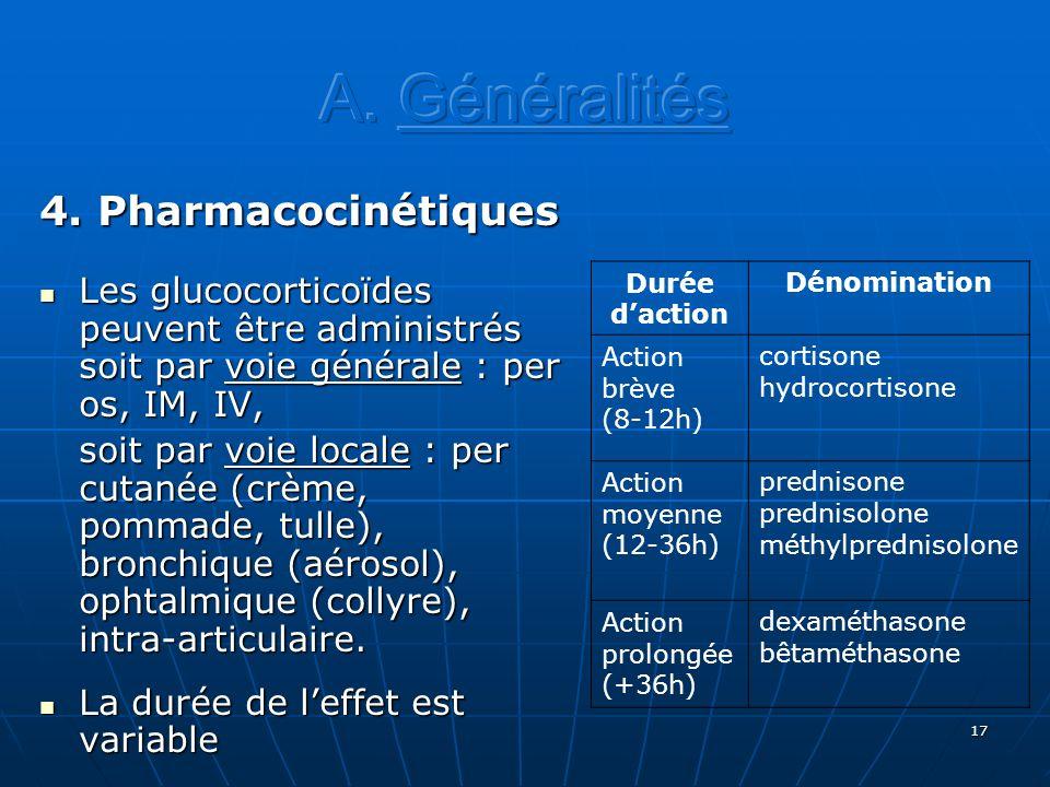 A. Généralités 4. Pharmacocinétiques