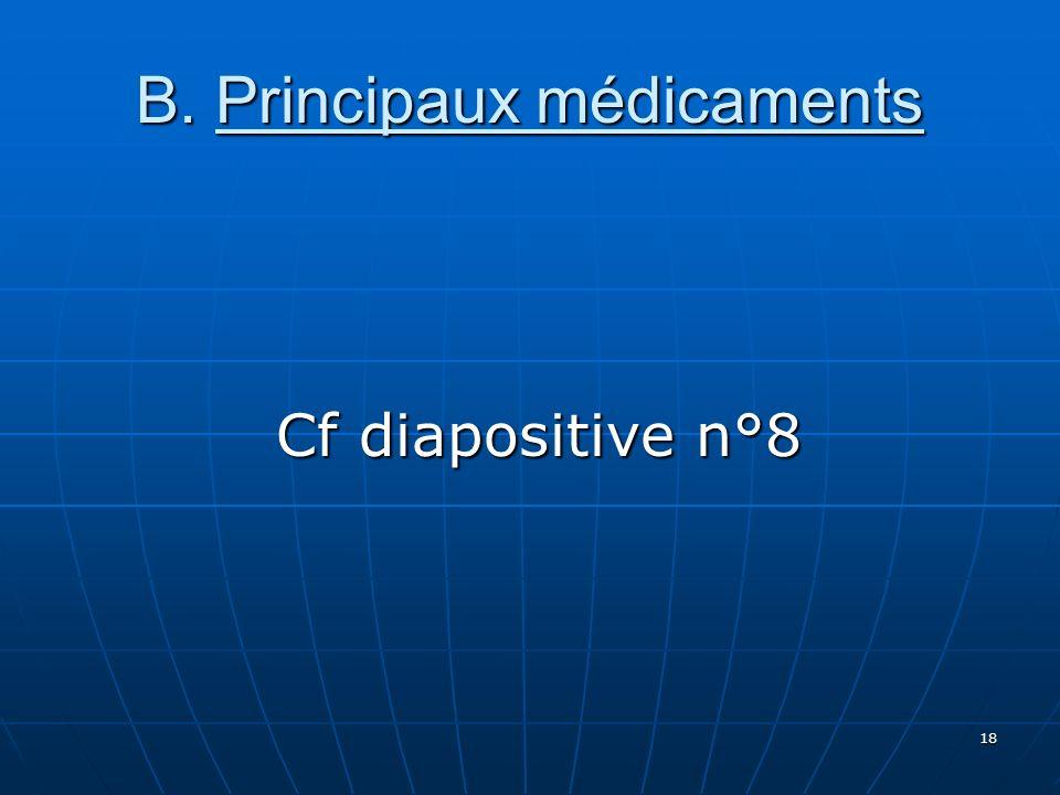 B. Principaux médicaments