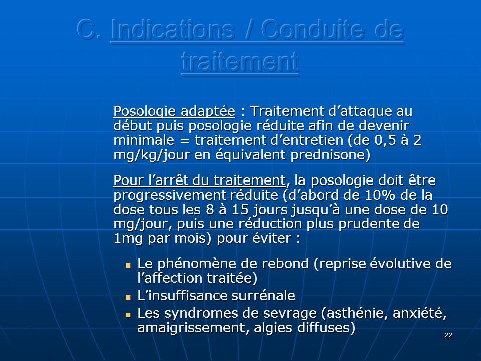 C. Indications / Conduite de traitement
