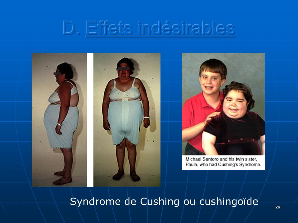 D. Effets indésirables Syndrome de Cushing ou cushingoïde