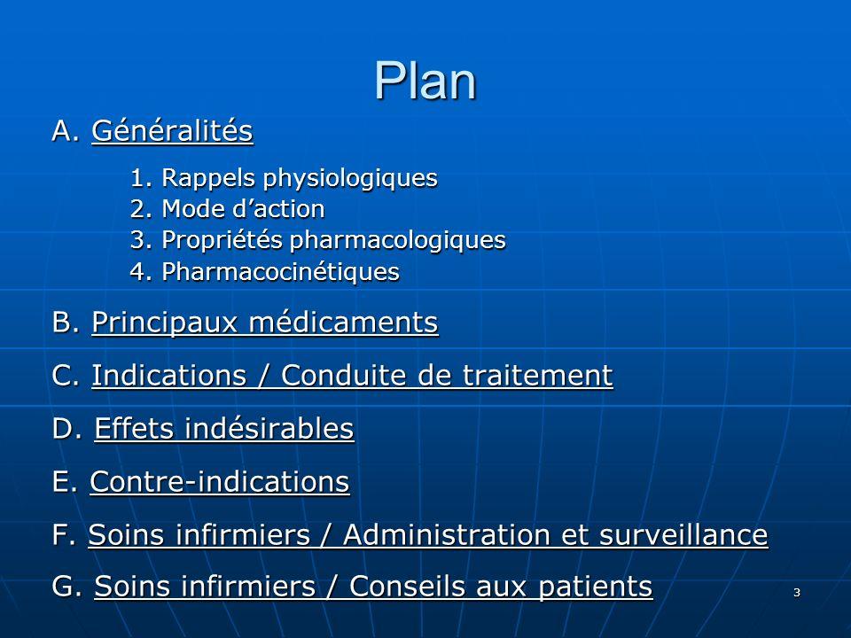 Plan A. Généralités B. Principaux médicaments