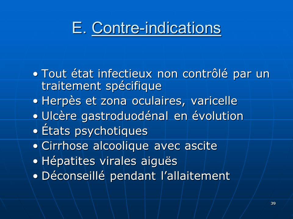 E. Contre-indications Tout état infectieux non contrôlé par un traitement spécifique. Herpès et zona oculaires, varicelle.