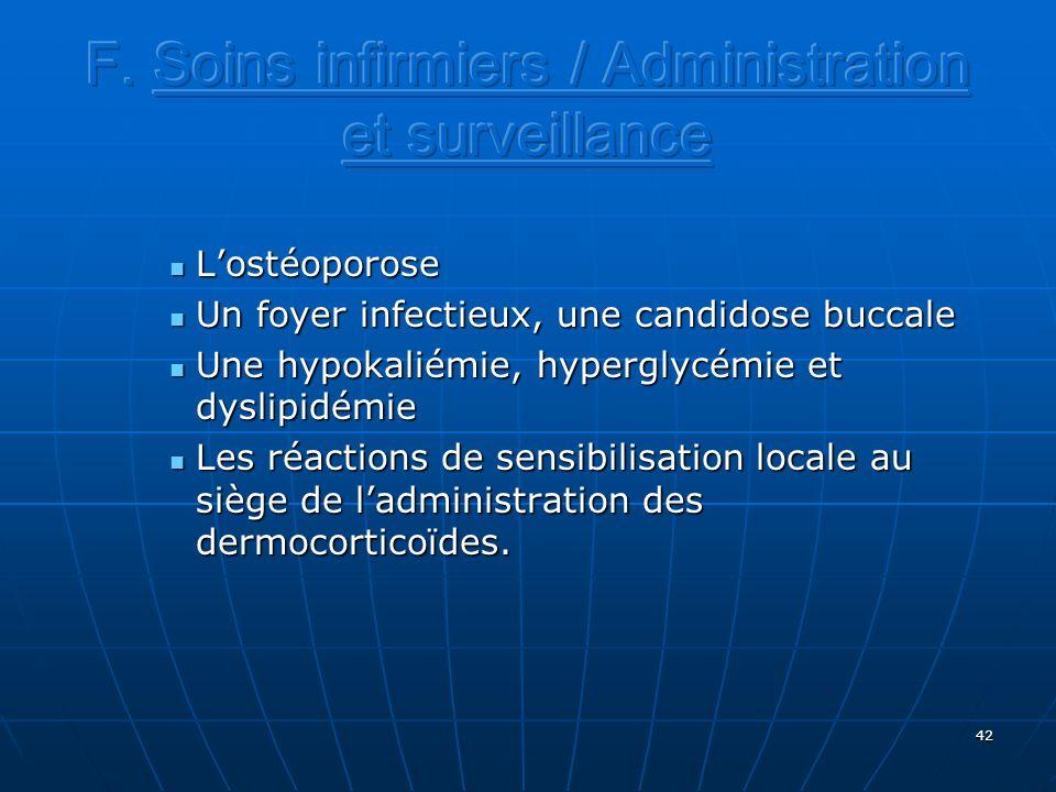 F. Soins infirmiers / Administration et surveillance